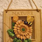 Ceramic Hand Painted Nature Wall Plaque Bumble Bee Flower Bouquet tblct1