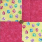 Pink Shells 4 inch Fabric Quilt Squares  Block ms1