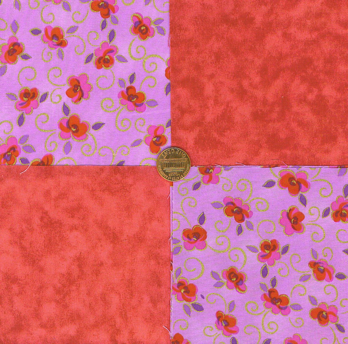 Red Roses with a Gold Swirl   4 inch Fabric Novelty Quilt Squares my4