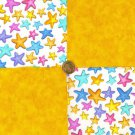 Rainbow Starfish and Gold  4 inch Fabric Novelty Quilt Squares  my4
