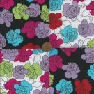 Black and White Flowers Fabric Cotton Fabric Quilt Squares  zP1