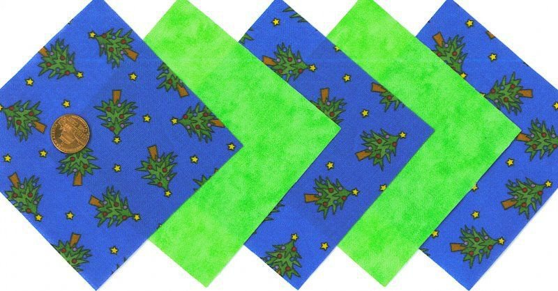 20 4 inch Christmas Tree Green Fabric Quilt Craft Squares  100% Cotton osr3