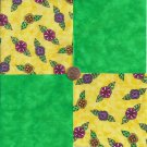 Bright  Whimsy Flowers Lime 4 inch 100% Cotton Novelty Fabric  Squares FS2