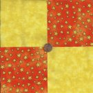 Yellow Stars  Orange4 inch 100% Cotton Novely Fabric  Squares FS2