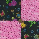Pink Whimsy Fabric Quilt Squares  4 inch Fabric  Blocks  Squares ms1