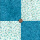 Blue Flowers Highlighted Solids Cotton Fabric Quilt Craft Squares CK