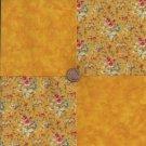 Golden Floral Bouquet   4 inch Cotton Fabric Craft Squares Blocks PB1