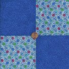 "Perky Blue Flowers  4""  4 inch Fabric Squares Blocks AW1"