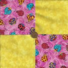 Ladybug Beetle Bright Yellow 4 inch Fabric Multi-Color  Craft Blocks ZC1