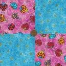 Ladybug Beetle Blue Stars 4 inch Fabric Multi-Color Craft Blocks ZC1