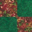 Rich Green Autumn 4 inch Fabric Quilt Squares  Block ms1