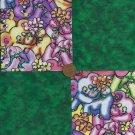 Elephant Dark Green  4 inch Fabric Quilt Squares Block ms1