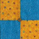 Hearts of a different color Blue 4 inch Fabric Quilt Craft Squares gd3