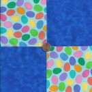 Colored Eggs and Royal Blue  4 inch 100% Cotton Novely Fabric  Squares FS2