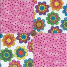 Bright Flowers Pink Chips  4 inch 100% Cotton Novelty Fabric Quilt Squares TB1