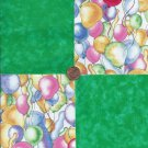 Balloons Balloon Green 4 inch 100% Cotton Novelty Fabric Quilt Squares kW1