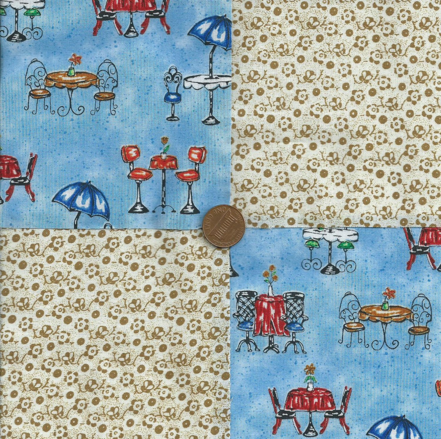 A Moment in Paris Coffee Boutique 100% Cotton Novelty Fabric Squares  zL1