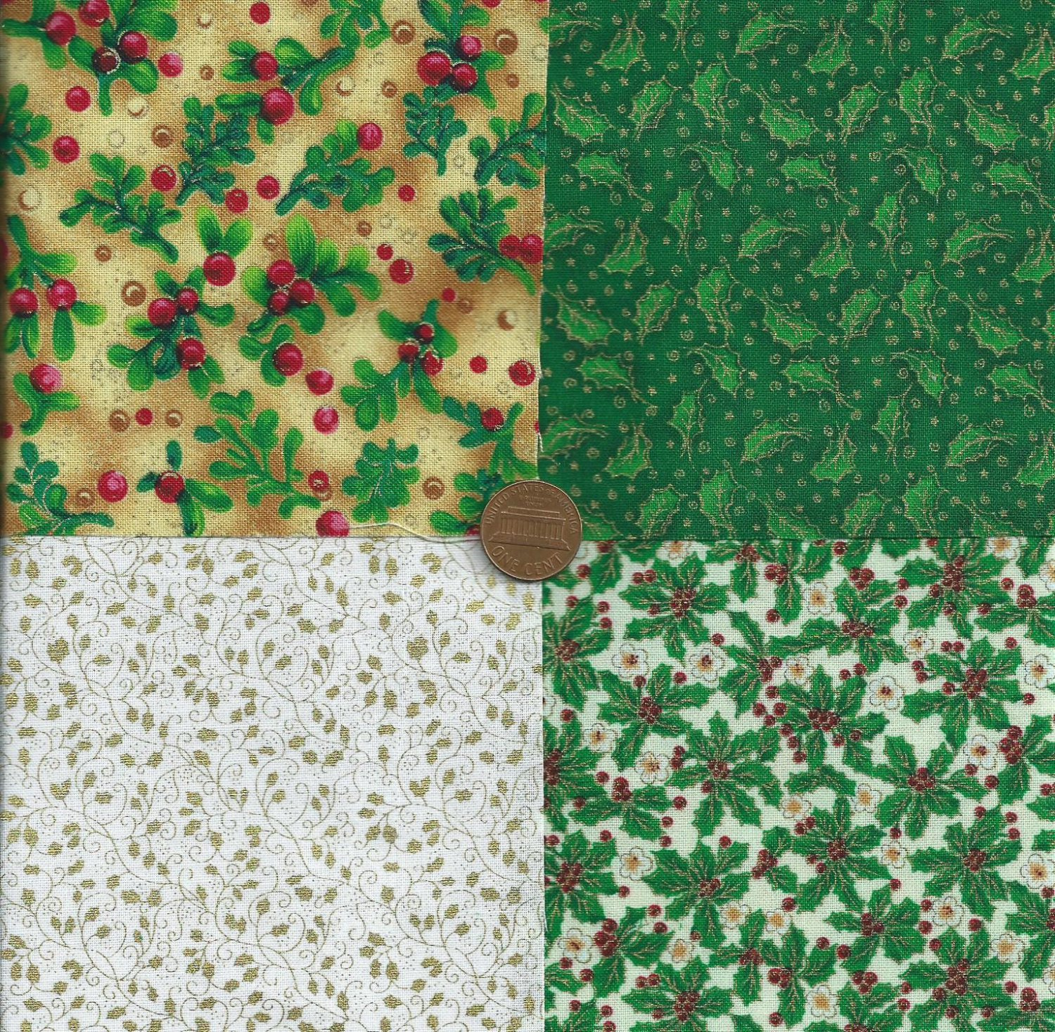 Ivy Fabric Leaves 4 inch Fabric Quilt Squares Multi-Color Block zs1