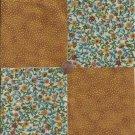 Elegant Gold Flowers Dots  4 inch 100% Cotton Novelty Fabric Quilt Squares DE1