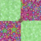 Bright Stars Pink Green 100% Cotton Fabric Quilt Square Blocks FT