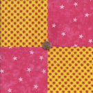 Flowers POP Pink with Stars 100% Cotton Fabric Quilt Square Blocks GE