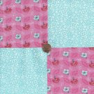Dainty Flowers Blue Pink White  100% Cotton Fabric Quilt Square Blocks FT