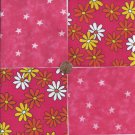 Daisies and Stars on Pink   4 inch 100% Cotton Novelty Fabric Quilt Squares TB1