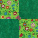 Cheerful Smiling Flowers Florals  4 inch 100% Cotton Novely Fabric  Squares FK1