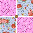 Red Roses Pink Roses Thorns  4 inch 100% Cotton Novelty Fabric Quilt Squares DE1