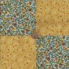Gorgeous Gold Flowers  4 inch Cotton Fabric Quilt Squares  ZE1