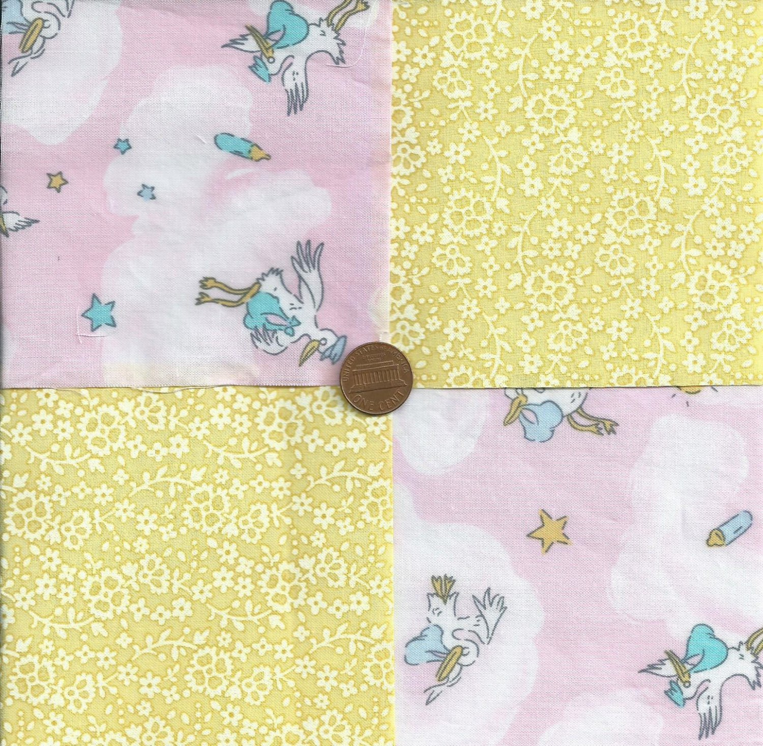 Stork welcome baby girl transgender unisex fabric squares for Unisex baby fabric