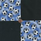 Soccer Balls and Black Football   4 inch 100% Cotton Novely Fabric  Squares FK1