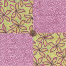 Big Pink Flowers and Swirls   4 inch 100% Cotton Novelty Fabric  Squares FS2