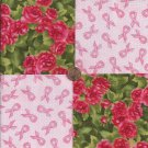 Red Roses Cancer Survivor 100% Cotton Fabric Quilt Square Blocks GE