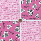 Love Peace Charity Awesome  4 inch 100% Cotton Novelty Fabric Squares SO1