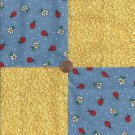 Ladybugs and Raindrop Flowers 4 inch 100% Cotton Novely Fabric  Squares FS2