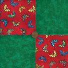 "Butterflies And Green 4""  4 inch Cotton Fabric Quilt Craft Squares ZC1"
