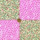 Tiny Hearts and Flowers Fushia 100%Cotton Fabric Squares  Blocks my3