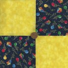Colorful Kites and Bright Yellow Cotton Fabric Quilt Squares  zL1