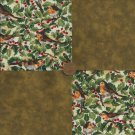 Birds Ivy Brown 4 inch Cotton Fabric Craft Quilt Squares Blocks zK1