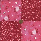 Breast Cancer Heart Dot Red Cotton Fabric Quilt Squares osr5