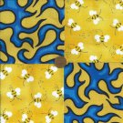 Hell Fire Bumble Bees 4 inch Fabric Quilt Squares Blocks rbx2