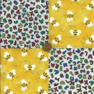 ABC and Bees 4 inch Cotton Fabric Quilt Squares  Blocks gd3