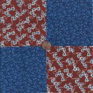 Blue Flowers Navy  Cranberry 4 inch 100% Cotton Novelty Fabric Quilt Squares TB1