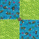 Sweet Bee with Lime Chips  4 inch 100% Cotton Novelty Fabric Quilt Squares TB1