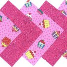 20 4 inch Moist Pink Cupcakes Fabric Quilt Squares Craft kit osr5