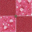 Red Roses Multi Polka Dots 4 inch 100% Cotton Novelty Fabric Quilt Squares DE1
