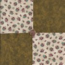 Cranberry Flowers Brown Solid 100% Cotton Fabric Quilt Square Blocks FT