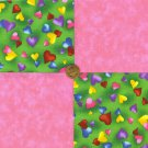 Hearts Rainbow Colors and Pink 100% Cotton Craft Fabric Quilt Squares  my8