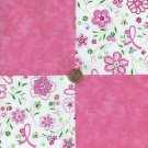 Survivor Ribbons Flowers Pink Solid 100% Cotton Fabric Quilt Square Blocks GE